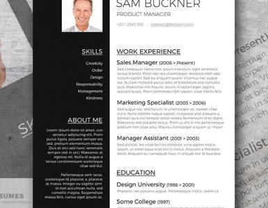 Two Tones - A Black and White Resume Template Design Freebie