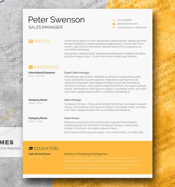 Goldenrod Yellow - Una Plantilla de Currículum Vitae Libre de Palabras Limpias