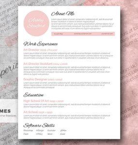 Toque de rosa - Una hermosa plantilla de currículum vitae gratis