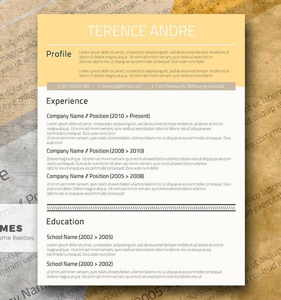 Diseño CV Profesional y Gratuito - Buff Yellow