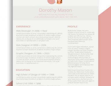 Free Resume Design for the Ladies | Simple in Pink