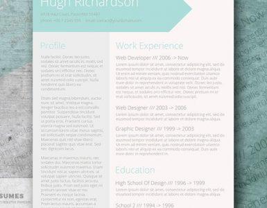 Plantilla de CV de Currículum Vitae Turquesa Gratis - Azul Verdoso